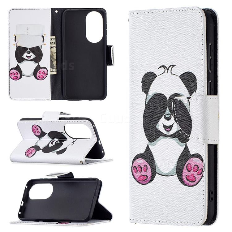 Lovely Panda Leather Wallet Case for Huawei P50