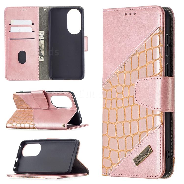 BinfenColor BF04 Color Block Stitching Crocodile Leather Case Cover for Huawei P50 - Rose Gold