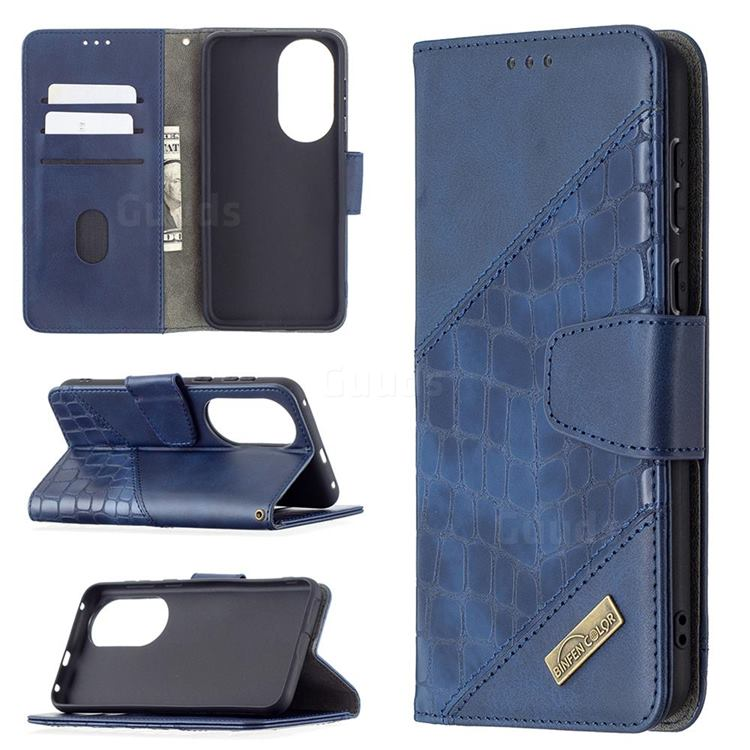 BinfenColor BF04 Color Block Stitching Crocodile Leather Case Cover for Huawei P50 - Blue