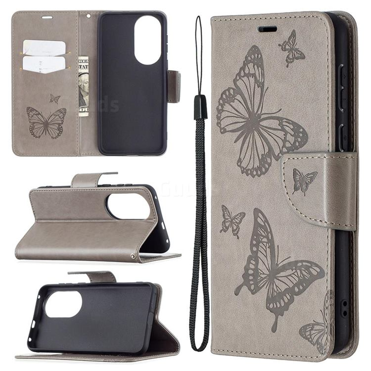 Embossing Double Butterfly Leather Wallet Case for Huawei P50 - Gray