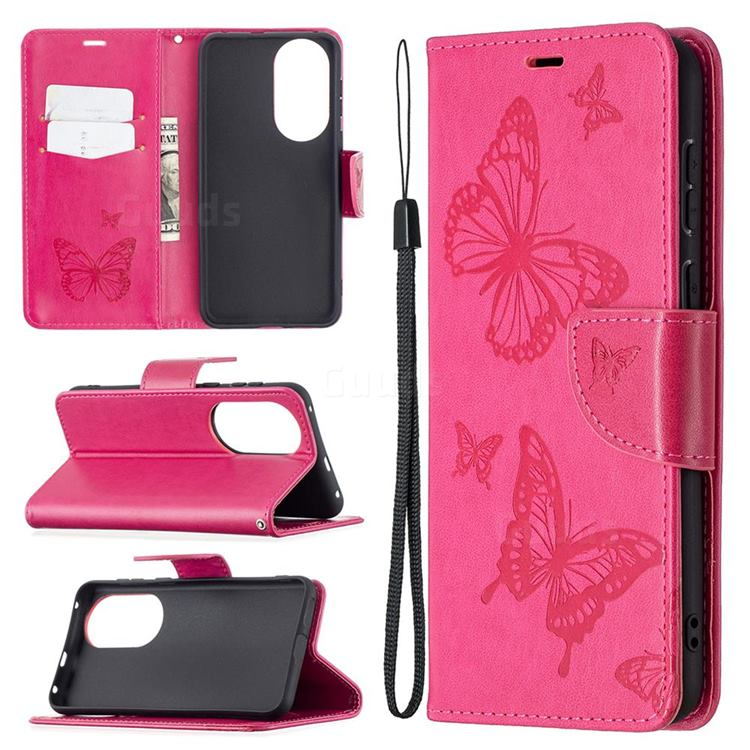 Embossing Double Butterfly Leather Wallet Case for Huawei P50 - Red
