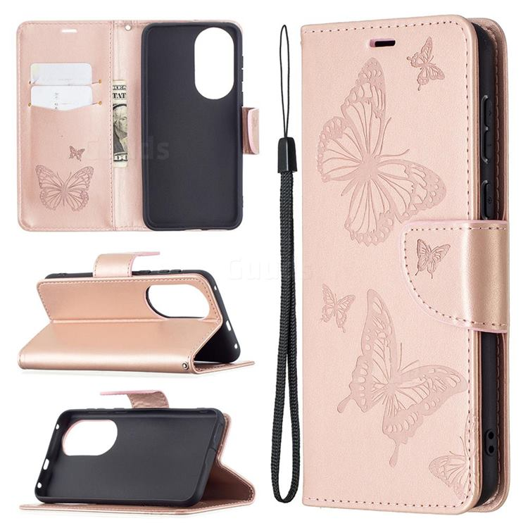 Embossing Double Butterfly Leather Wallet Case for Huawei P50 - Rose Gold