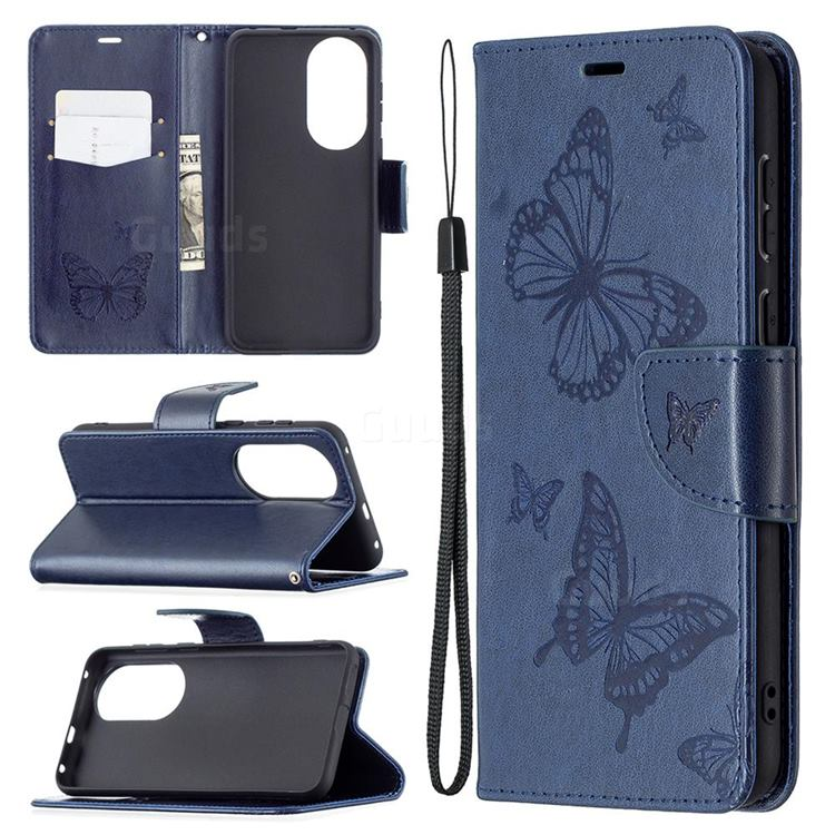 Embossing Double Butterfly Leather Wallet Case for Huawei P50 - Dark Blue