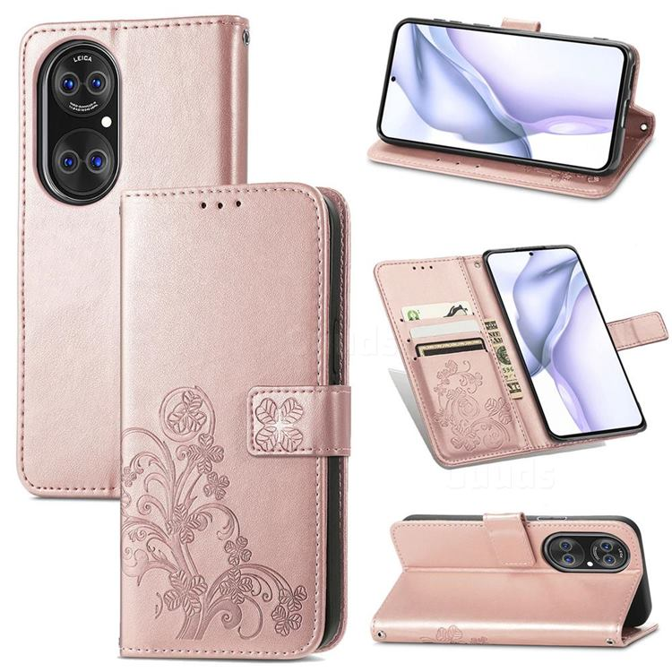 Embossing Imprint Four-Leaf Clover Leather Wallet Case for Huawei P50 - Rose Gold