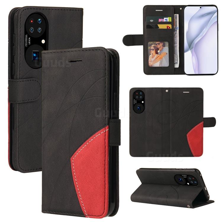 Luxury Two-color Stitching Leather Wallet Case Cover for Huawei P50 - Black