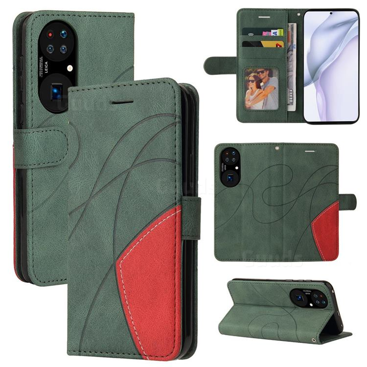Luxury Two-color Stitching Leather Wallet Case Cover for Huawei P50 - Green