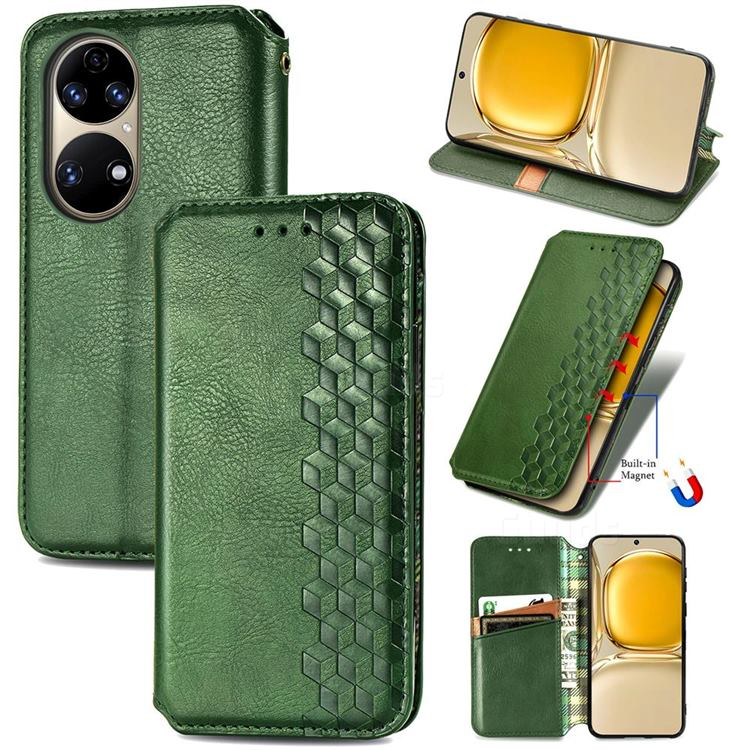 Ultra Slim Fashion Business Card Magnetic Automatic Suction Leather Flip Cover for Huawei P50 - Green