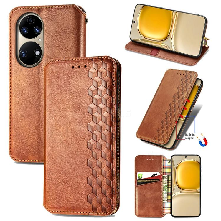 Ultra Slim Fashion Business Card Magnetic Automatic Suction Leather Flip Cover for Huawei P50 - Brown