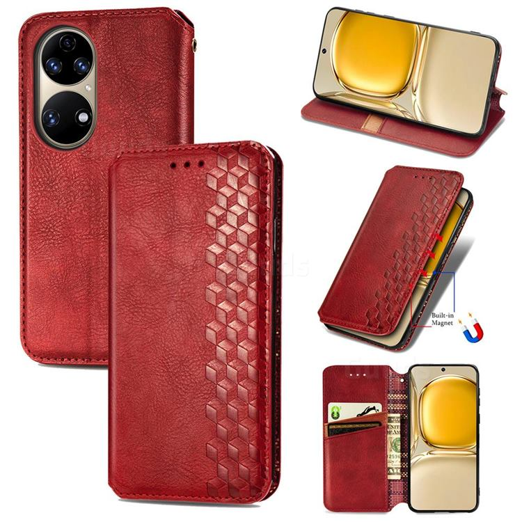 Ultra Slim Fashion Business Card Magnetic Automatic Suction Leather Flip Cover for Huawei P50 - Red