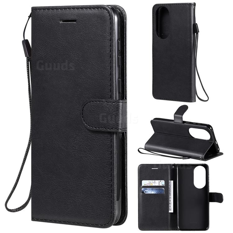Retro Greek Classic Smooth PU Leather Wallet Phone Case for Huawei P50 - Black