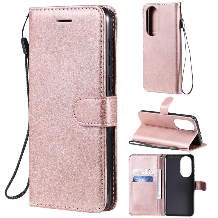 Retro Greek Classic Smooth PU Leather Wallet Phone Case for Huawei P50 - Rose Gold
