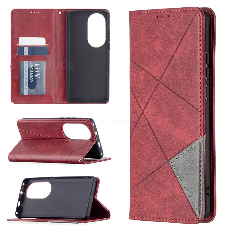 Prismatic Slim Magnetic Sucking Stitching Wallet Flip Cover for Huawei P50 Pro - Red