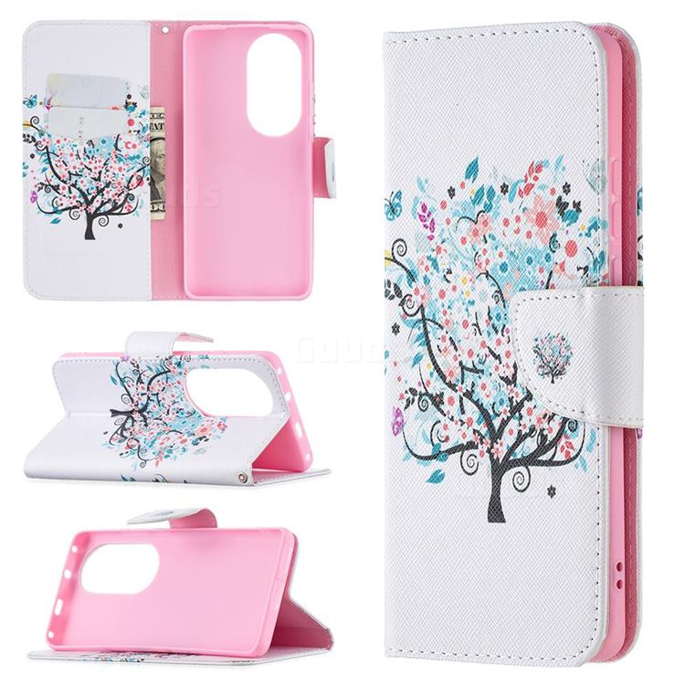 Colorful Tree Leather Wallet Case for Huawei P50 Pro