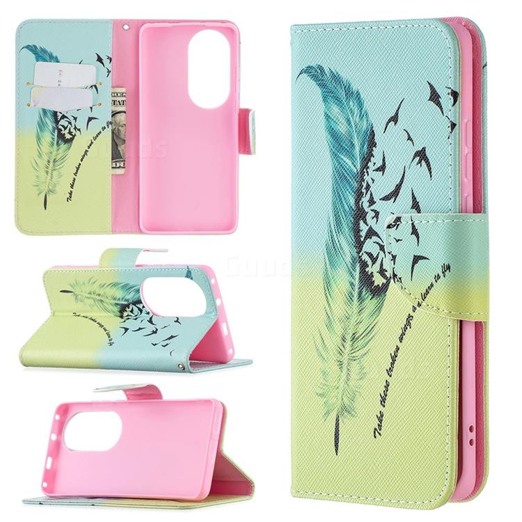 Feather Bird Leather Wallet Case for Huawei P50 Pro