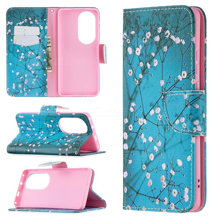 Blue Plum Leather Wallet Case for Huawei P50 Pro
