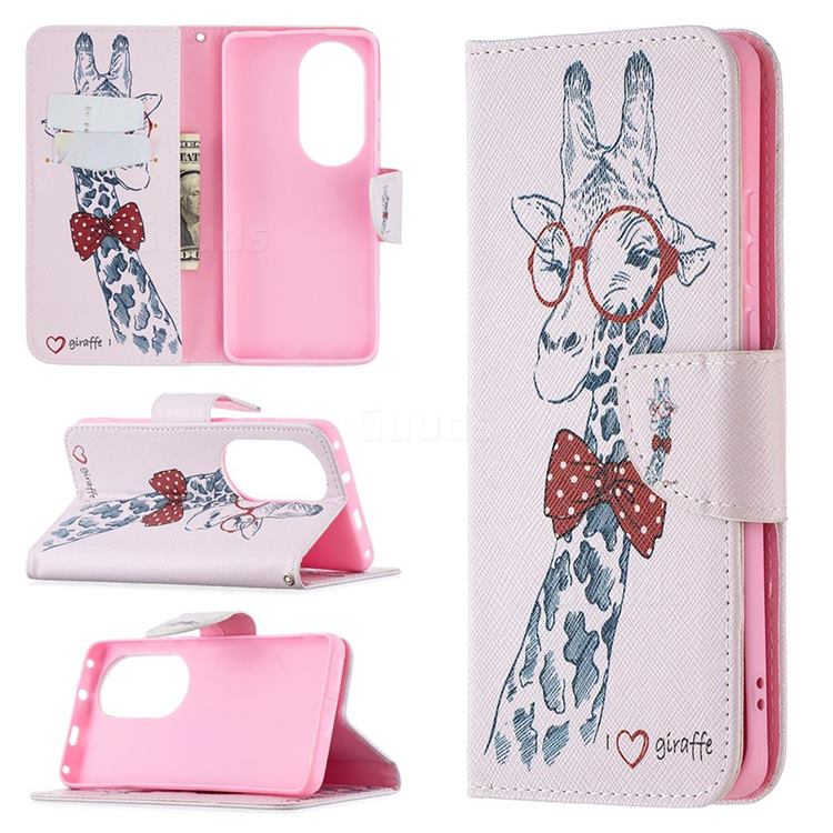 Glasses Giraffe Leather Wallet Case for Huawei P50 Pro