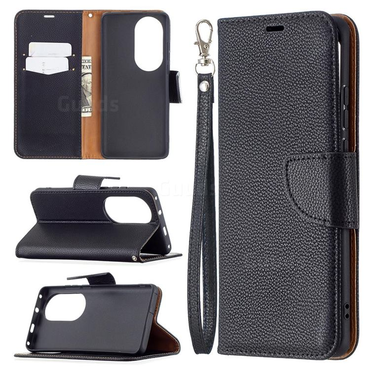 Classic Luxury Litchi Leather Phone Wallet Case for Huawei P50 Pro - Black