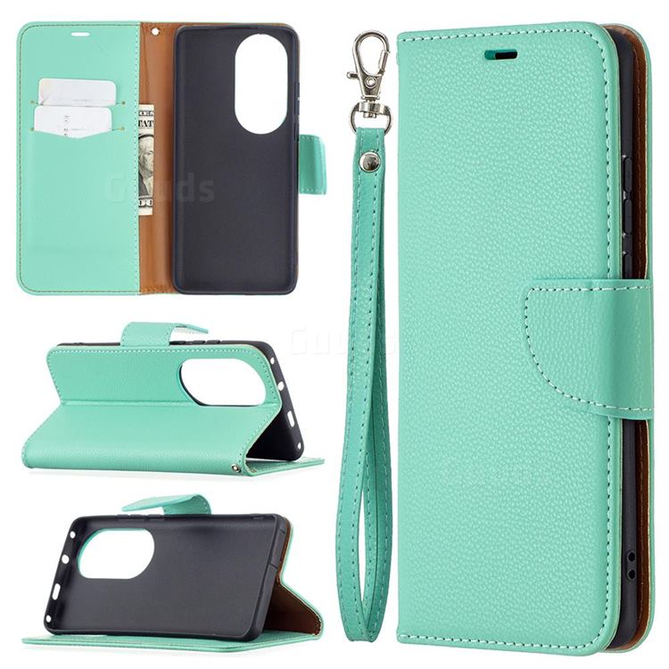 Classic Luxury Litchi Leather Phone Wallet Case for Huawei P50 Pro - Green