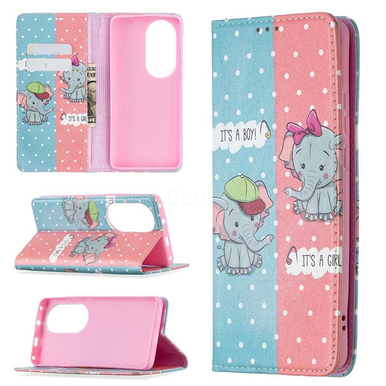 Elephant Boy and Girl Slim Magnetic Attraction Wallet Flip Cover for Huawei P50 Pro