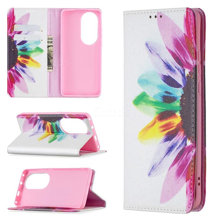 Sun Flower Slim Magnetic Attraction Wallet Flip Cover for Huawei P50 Pro