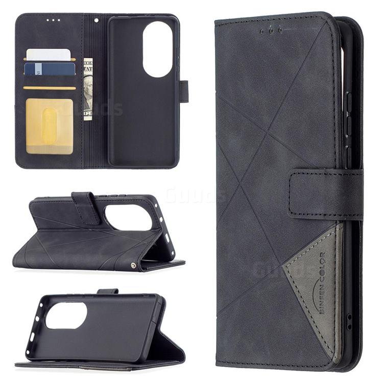 Binfen Color BF05 Prismatic Slim Wallet Flip Cover for Huawei P50 Pro - Black