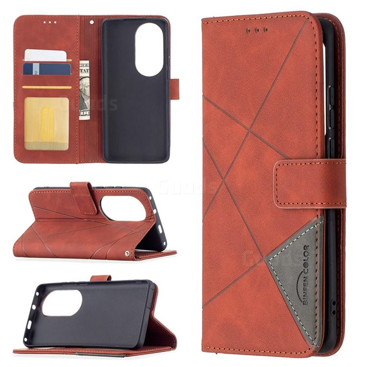 Binfen Color BF05 Prismatic Slim Wallet Flip Cover for Huawei P50 Pro - Brown