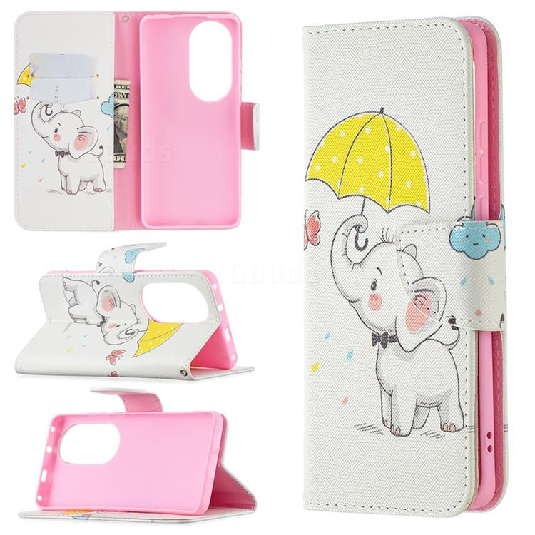 Umbrella Elephant Leather Wallet Case for Huawei P50 Pro