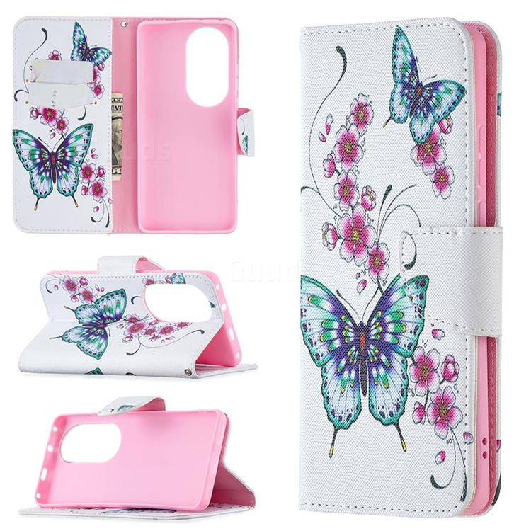 Peach Butterflies Leather Wallet Case for Huawei P50 Pro