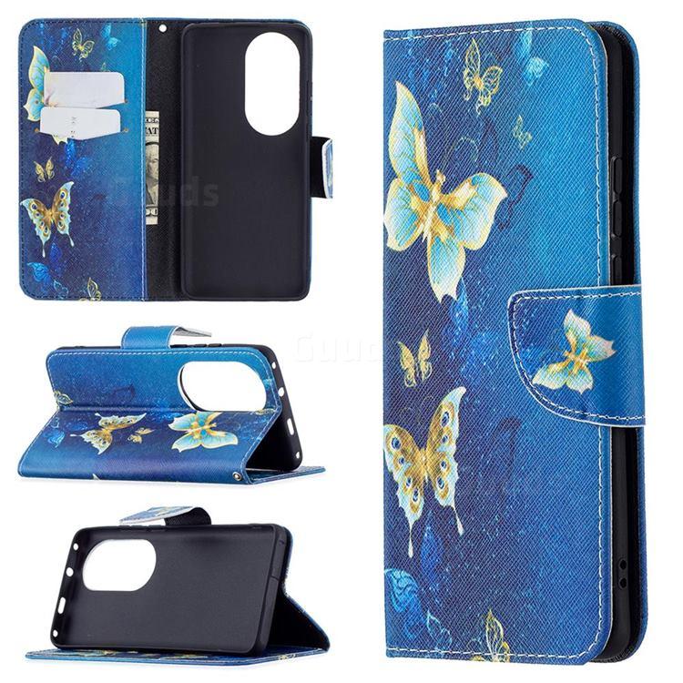 Golden Butterflies Leather Wallet Case for Huawei P50 Pro
