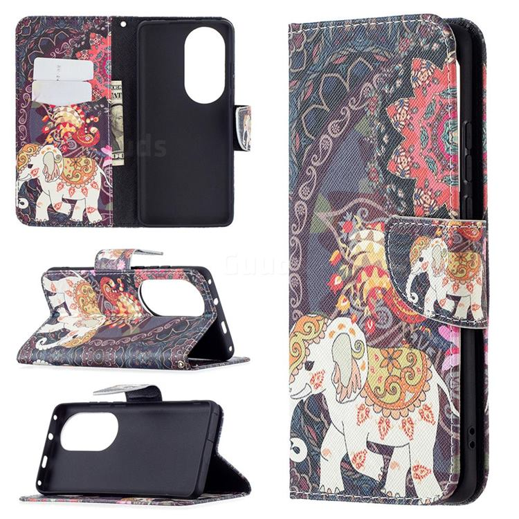 Totem Flower Elephant Leather Wallet Case for Huawei P50 Pro