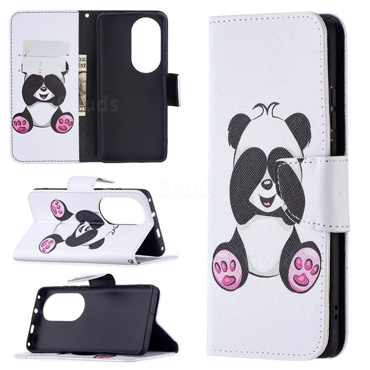 Lovely Panda Leather Wallet Case for Huawei P50 Pro