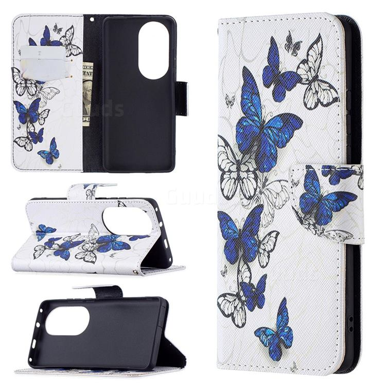 Flying Butterflies Leather Wallet Case for Huawei P50 Pro