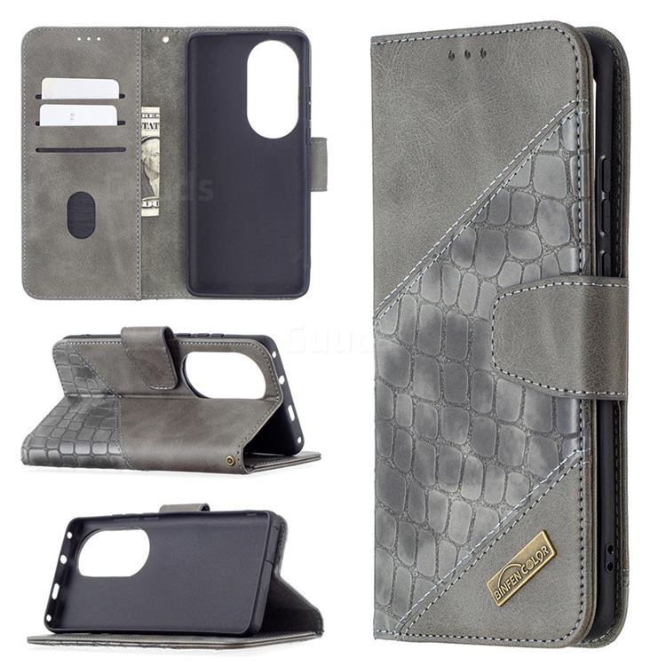 BinfenColor BF04 Color Block Stitching Crocodile Leather Case Cover for Huawei P50 Pro - Gray
