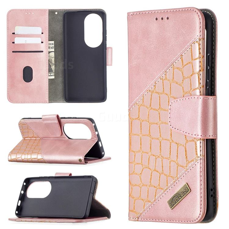 BinfenColor BF04 Color Block Stitching Crocodile Leather Case Cover for Huawei P50 Pro - Rose Gold