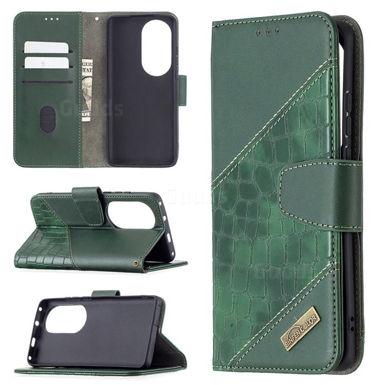 BinfenColor BF04 Color Block Stitching Crocodile Leather Case Cover for Huawei P50 Pro - Green