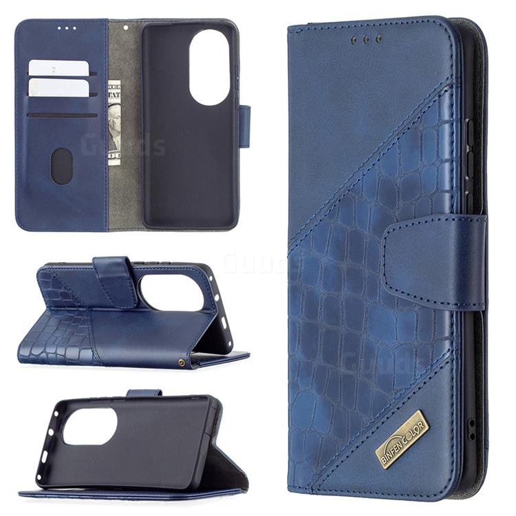 BinfenColor BF04 Color Block Stitching Crocodile Leather Case Cover for Huawei P50 Pro - Blue