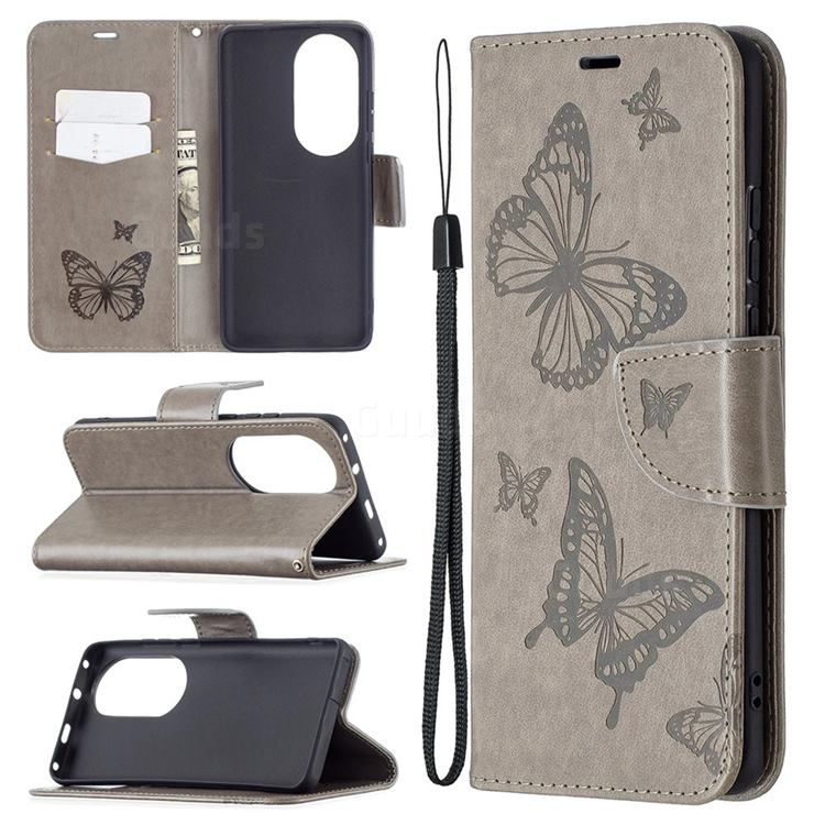 Embossing Double Butterfly Leather Wallet Case for Huawei P50 Pro - Gray