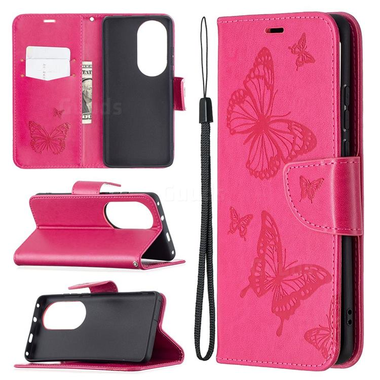 Embossing Double Butterfly Leather Wallet Case for Huawei P50 Pro - Red
