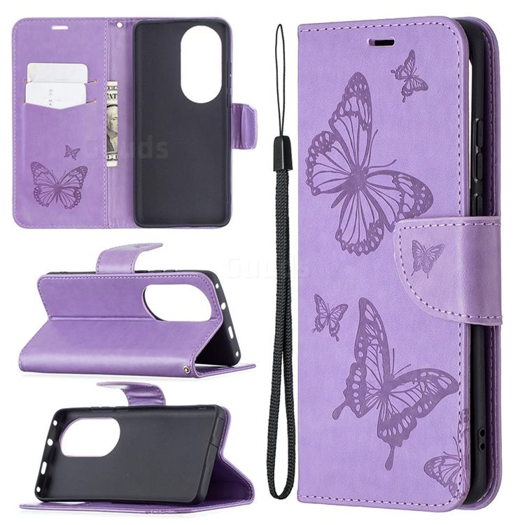 Embossing Double Butterfly Leather Wallet Case for Huawei P50 Pro - Purple
