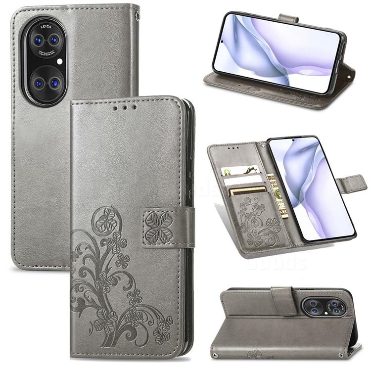 Embossing Imprint Four-Leaf Clover Leather Wallet Case for Huawei P50 Pro - Grey