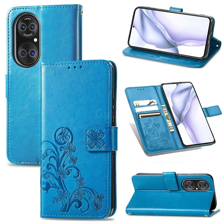 Embossing Imprint Four-Leaf Clover Leather Wallet Case for Huawei P50 Pro - Blue