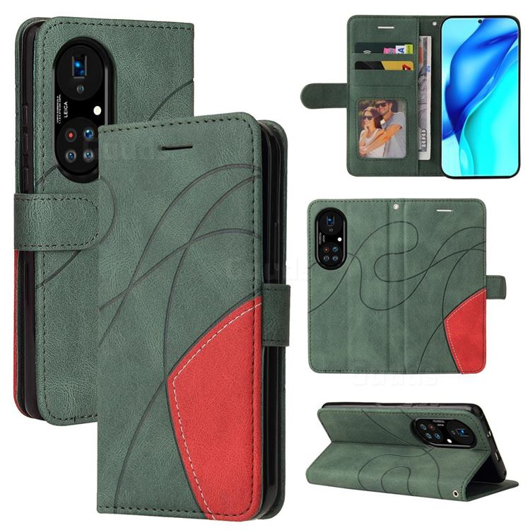 Luxury Two-color Stitching Leather Wallet Case Cover for Huawei P50 Pro - Green