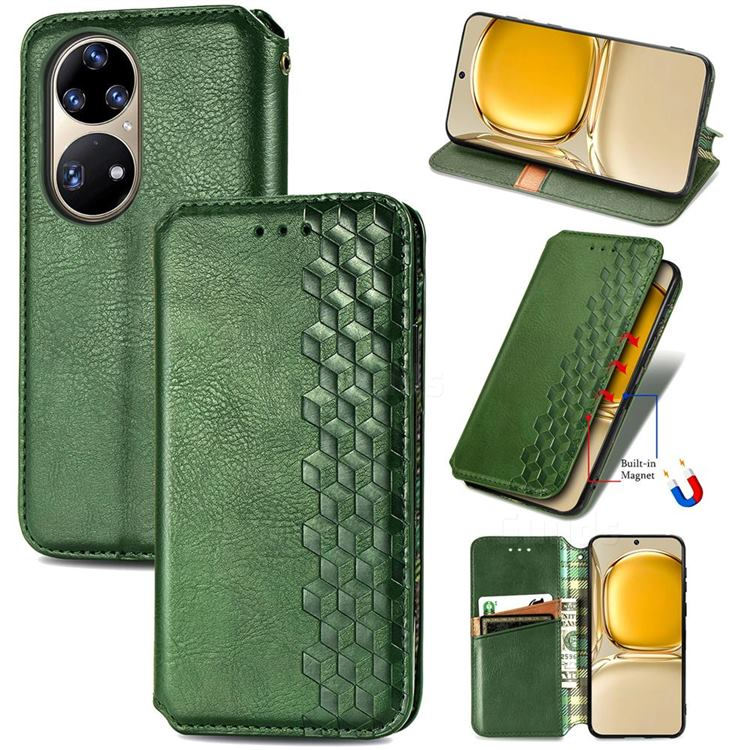 Ultra Slim Fashion Business Card Magnetic Automatic Suction Leather Flip Cover for Huawei P50 Pro - Green