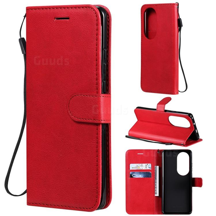 Retro Greek Classic Smooth PU Leather Wallet Phone Case for Huawei P50 Pro - Red