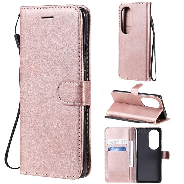 Retro Greek Classic Smooth PU Leather Wallet Phone Case for Huawei P50 Pro - Rose Gold