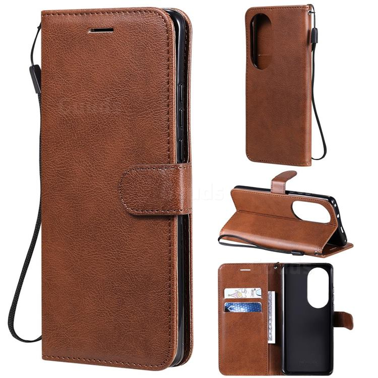 Retro Greek Classic Smooth PU Leather Wallet Phone Case for Huawei P50 Pro - Brown
