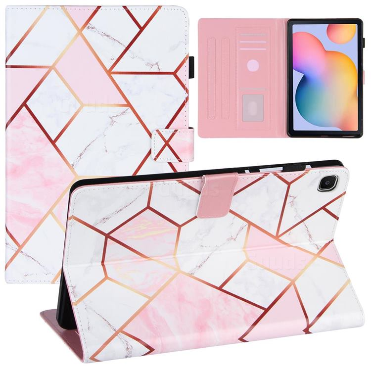 Pink White Stitching Color Marble Leather Flip Cover for Samsung Galaxy Tab S6 Lite P610 P615