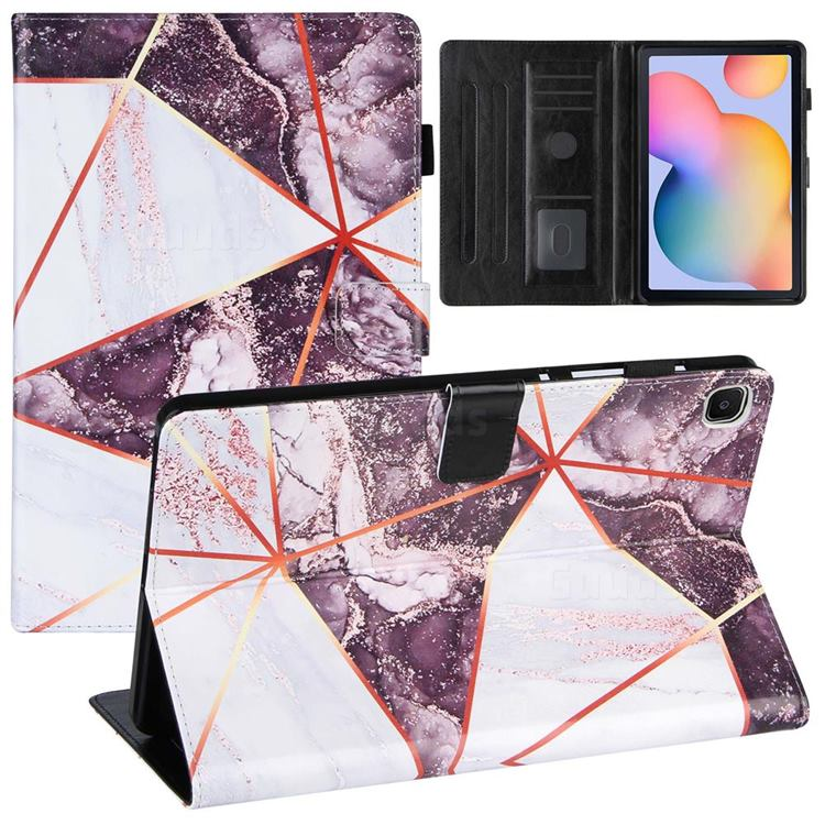 Black and White Stitching Color Marble Leather Flip Cover for Samsung Galaxy Tab S6 Lite P610 P615
