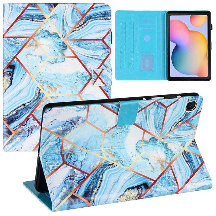 Lake Blue Stitching Color Marble Leather Flip Cover for Samsung Galaxy Tab S6 Lite P610 P615