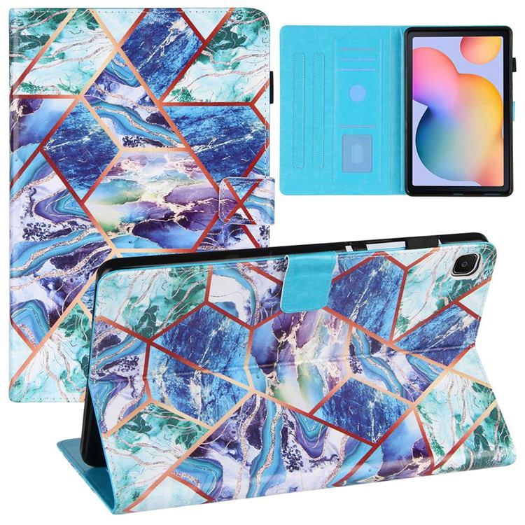Green and Blue Stitching Color Marble Leather Flip Cover for Samsung Galaxy Tab S6 Lite P610 P615